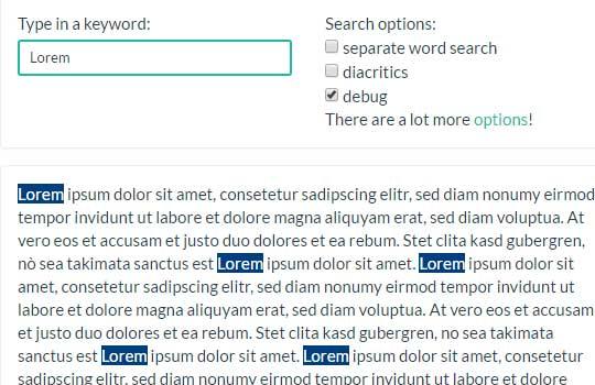 3 Demos of jQuery/JavaScript keyword highlighting plug-in: mark js