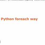 Is Python foreach loop available?