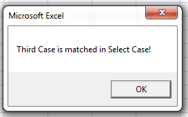 The VBA select case statement