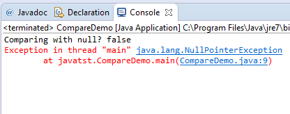 Java equals null