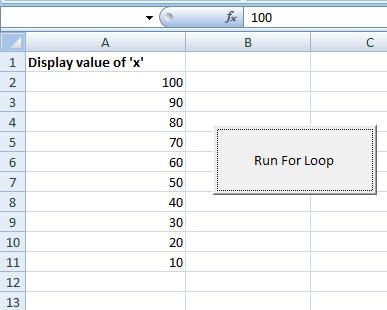 Excel for loop