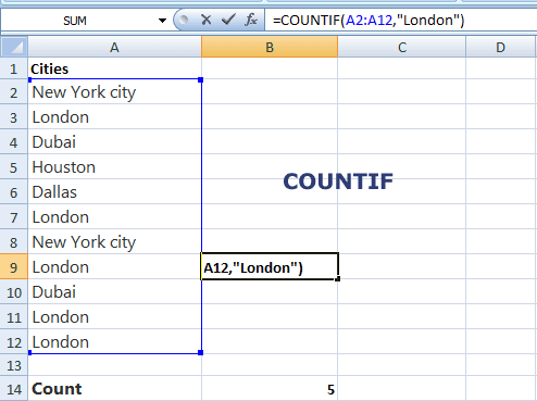 Excel COUNTIF