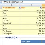 The MATCH function in Excel