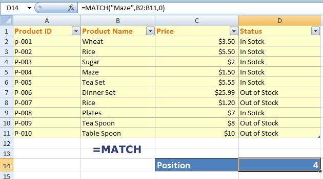 Excel MATCH