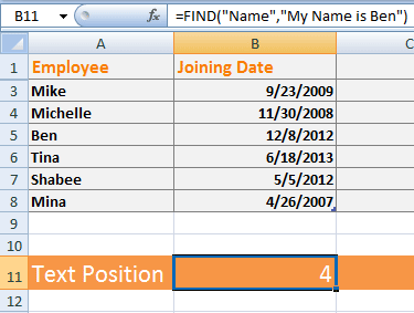 Excel FIND text