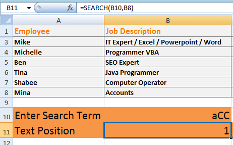 Excel SEARCH