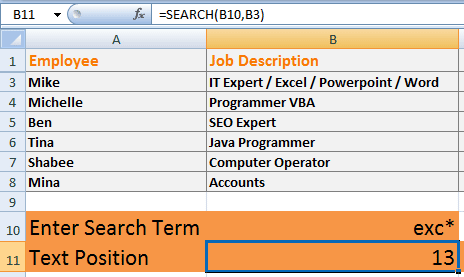 SEARCH Function wildcard