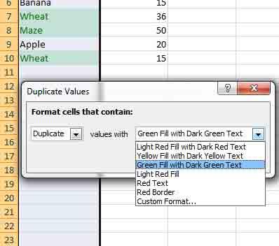 Excel duplicates format