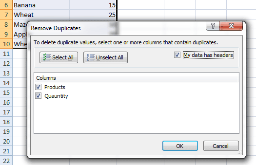 Excel remove duplicate options