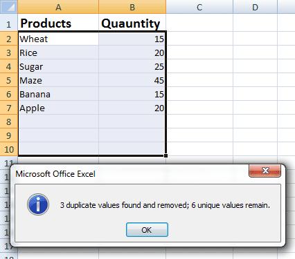 Excel duplicate delted