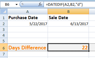 Excel DATEDIF Days
