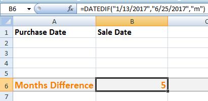 Excel DATEDIF Months