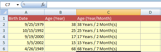 Excel-age calculate years month
