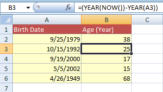 age calculate YEARS function