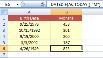 Excel age Months