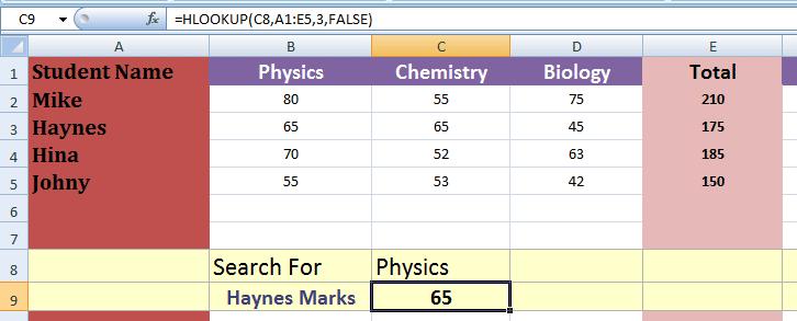 Excel HLOOKUP dynamic