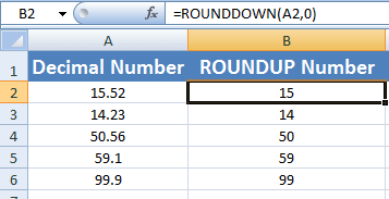 Excel ROUNDDOWN