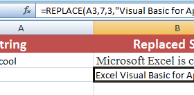 The functions to replace text in Excel