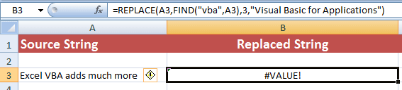 Excel REPLACE FIND error