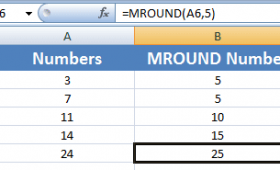 The MROUND function for rounding nearest to 5, 10, 100, 1000 etc.