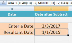 Excel Subtract Date Formulas