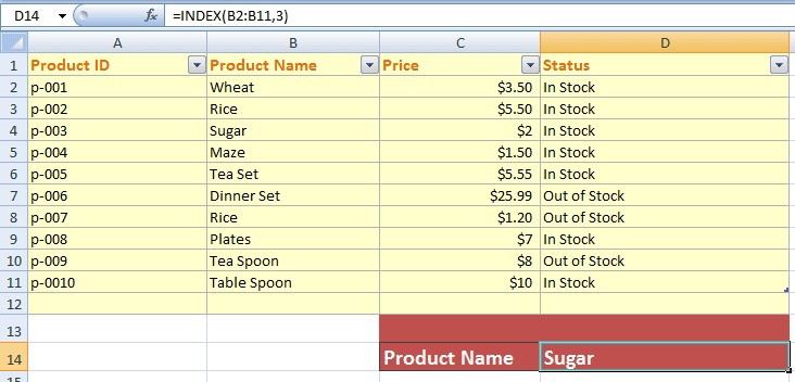 how to use index and match function in excel