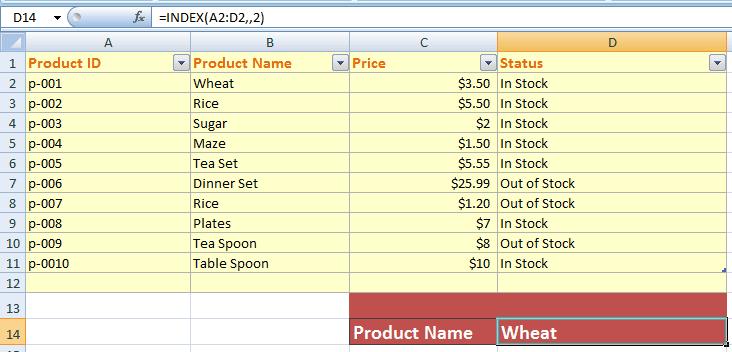 Excel INDEX column_num