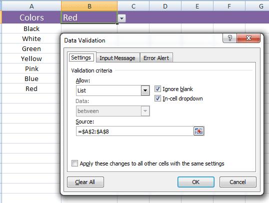 Excel data validation dialog