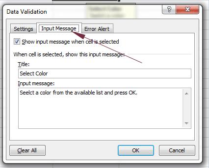 dropdown input message 2