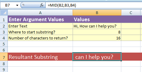 Excel substring