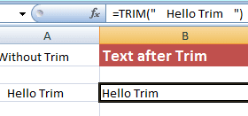 Excel TRIM function for removing spaces