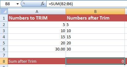 Excel TRIM Numbers