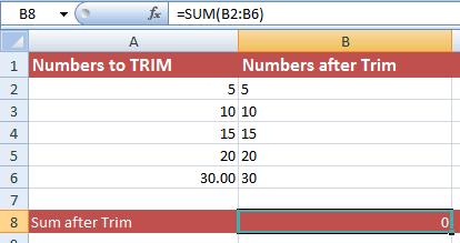Excel TRIM Numbers