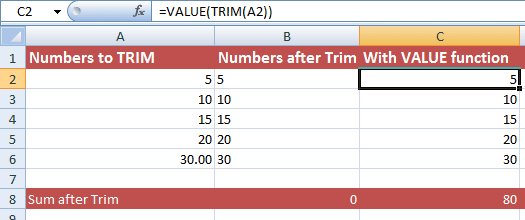 How to remove spaces by Excel TRIM function (5 Examples)