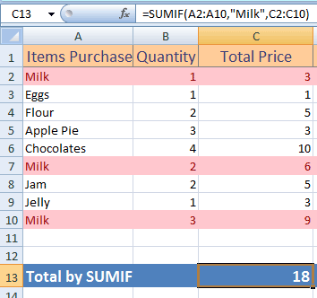 Excel SUMIF compare