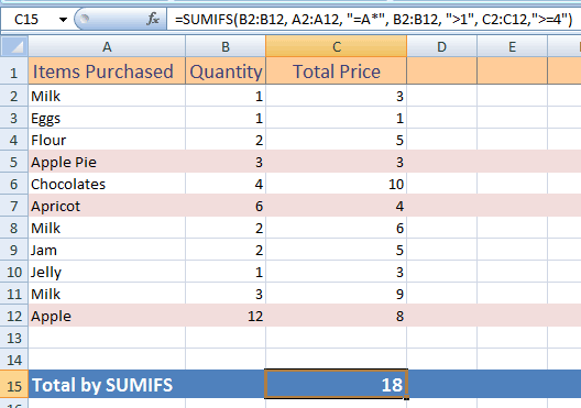Excel SUMIFS three