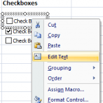 The Excel Checkbox form control