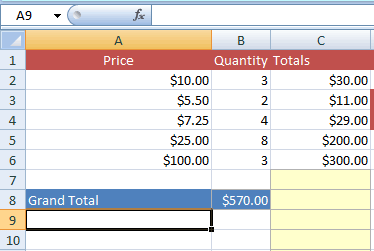 Excel SUM of product