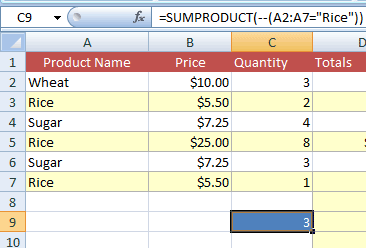 SUMPRODUCT count