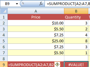 SUMPRODUCT dimensions