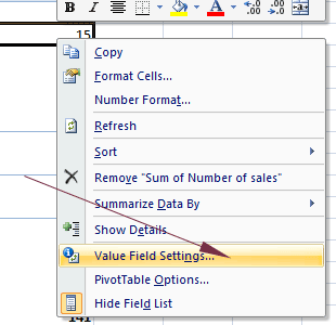pivot table value settings
