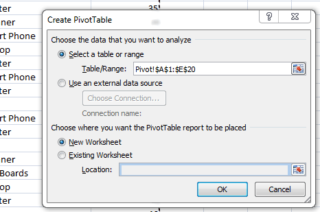 Excel pivot table create