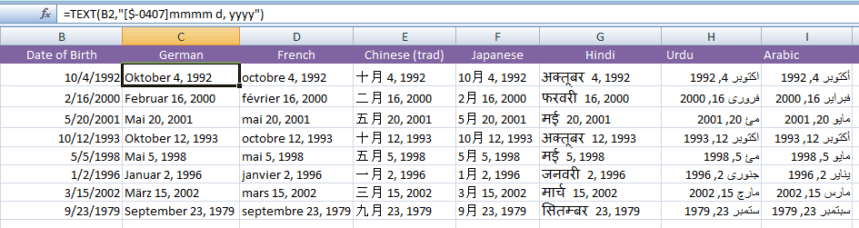 format date languages
