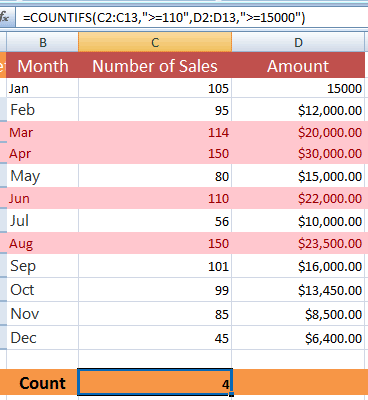 Excel COUNTIFS