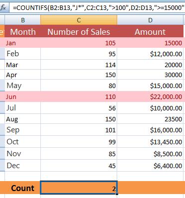 Excel COUNTIFS three