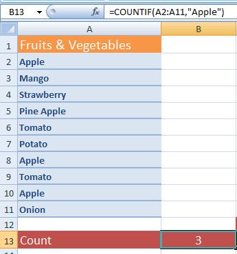Excel COUNTIF text