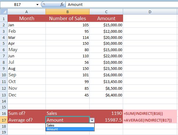 Excel INDIRECT SUM