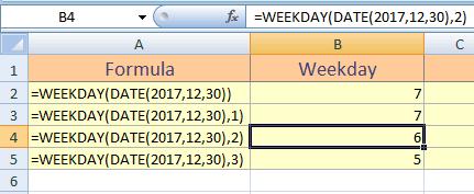 Excel WEEKDAY