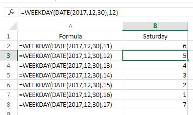 Excel WEEKDAY 11