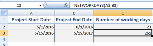 Excel NETWORKDAYS
